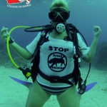 Divers at the Bay Islands College of Diving in Honduras did a World Rhino Day dive. Photo courtesy of Amy Kim Walker.