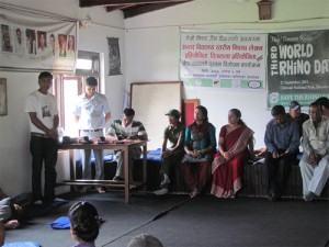 Students in Chitwan, Nepal, participated in an art and essay competition, with rhino conservation as the theme. Photo courtesy of Suman Bhattarai, PARC Nepal.