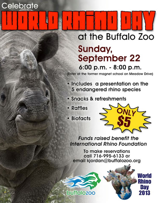 The Buffalo Zoo in New York will hold a special event on World Rhino Day to raise funds for the International Rhino Foundation.