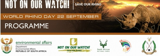 South Africa's Department of Environmental Affairs and SANParks will host World Rhino Day events.