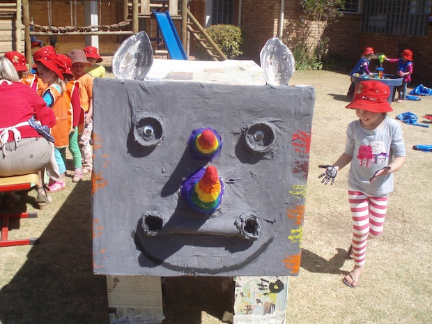 Colorful rhino created by nursery school students!
