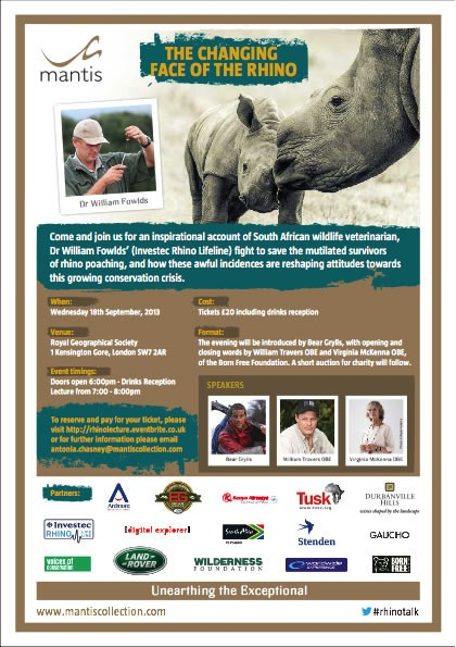 """The Changing Face of the Rhino"" will be presented on September 18th at the Royal Geographical Society in London."