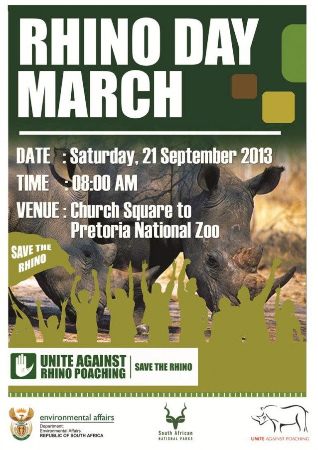 World Rhino Day March in Pretoria, starting at 8:00 AM!