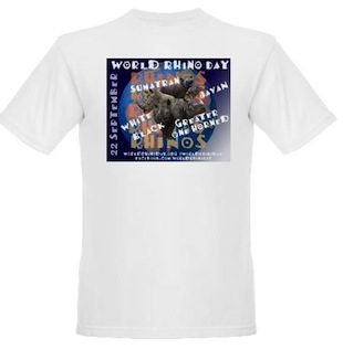 T-shirt sales will benefit the International Rhino Foundation's Javan and Sumatran rhino conservation programs!