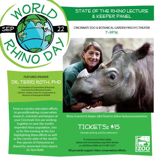 Cincinnati Zoo & Botanical Gardens will host numerous events during World Rhino Day.